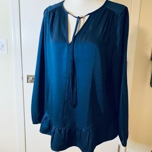 Tops - Blue Satin Silky Blouse